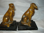 Antique Art Deco Bronze Whippet Borzoi Or Greyhound Dog Metal Bookends 1930's