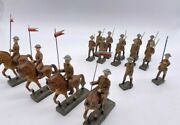 Vintage Set Lot Lineol Germany Wwi Toy Soldiers Riding Horses Carrying Flags Gun