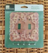 Pink Flowers Leila Decorative Switchplate - Double Toggle - New In Packaging