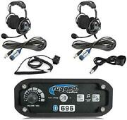 Rugged Radios Rrp696 Black Out Series Intercom 2 Place Kit With Over The Head He