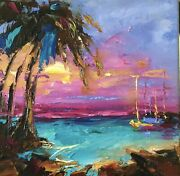 Sunset Signed Original Oil Painting On Canvas Hq Art Born In Scotland