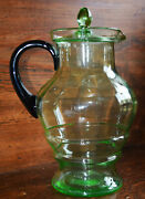 Pristine Green Depression Lemonade Glass Pitcher With Lid And Dark Green Handle