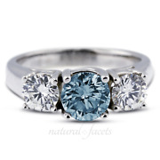 1.88ct Blue Si3 Round Natural Certified Diamonds 18k Classic Engagement Ring