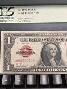 1928 1 One Dollar Us Legal Tender Red Seal Trinary Number 00000717 Top Rare!