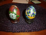 Pair Of Chinese Cloisonne Enamel Eggs With Stands