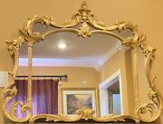 Vtg Ornate Italian Carved Gold Gilt Mantle Wall Hanging Mirror 52 1/2 X 40