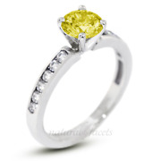1.12ct Yellow Si1 Round Natural Certified Diamonds 14k Gold Classic Accent Ring