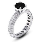 5.15ctw Black Round Cut Earth Mined Certified Diamonds 14k Gold Side Stone Ring