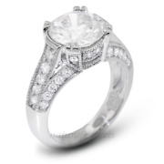 1.88ct I/vs2 Round Natural Diamonds White Gold Vintage Style Engagement Ring