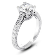 1.43ct F/si2 Round Natural Diamonds White Gold Vintage Style Side Stone Ring