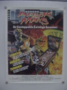 Attack From Mars Pinball Machine Bally Original Promo Poster 22 By 28 Inches