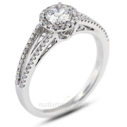 0.81ct I/si1 Round Earth Mined Certified Diamonds White Gold Halo Accent Ring