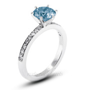 1.32ct Blue Si1 Round Natural Certified Diamonds Plat Classic Engagement Ring