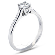 0.54ct H Si1 Round Natural Certified Diamond Platinum Solitaire Engagement Ring