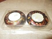 Decorated Candle Holders With Candles Hand Painted By Davila With Alcohol Ink
