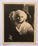 Gorgeous Jean Harlow Signed 8/10 By Mama Jean Matte Original Photo Very Good