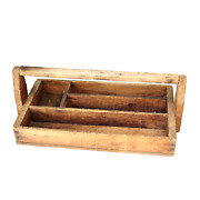 Vintage Wood Caddy Tool Box Marked Pittsburg Co. Primitive Country Farmhouse