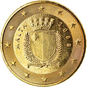 [370664] Malta 50 Euro Cent 2008 Paris Gold-plated Coin Unz Messing