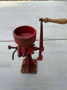 Antique Vintage Cast Iron Coffee Grinder Corn Grain Mill Red Withwood Hand Crank