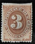 Us Stampscott J-17used3 Cent1884brown Redpostage Due