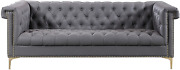 Iconic Home Grey Winston Pu Button Tufted With Trim Gold Tone Metal Y-shaped Fee