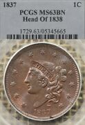 1837 1c Pcgs Ms63 Bn Head Of 1838 Coronet Head Large Cent Lustrous And Choice