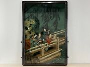 Vintage Likely Antique Chinese Reverse Glass Painting Of A Woman Pole Fishing