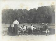 Vintage Old Family Photograph Men Ladies Children Boater Hats By A Lake 1900andrsquos