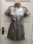 Candrsquonandrsquoc Costume National Made In Italy Silver Leather Mini Dress Jacket 26/40 6-8
