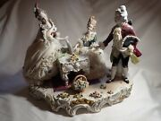 Heinz Schaubach Dresden Lace 2 Ladies 1 Man Playing Piano- Germany Porcelain