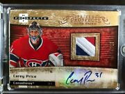 2007/08 Hot Prospects Gold Rookie Carey Price Auto Patch 3 Color 3/25
