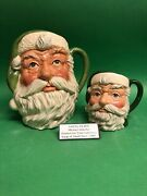 Large And Small Doulton Green Santa Colorway Character Jugs Trials Prototypes