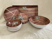 Tommy Bahama Melamine Dark Wood Dinnersalad Plates Bowls + Serving Bowl And Tray