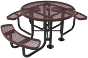 Coated Outdoor Furniture Trd3-bur Top Round Portable Picnic Table 46-inch Burg