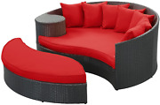 Modway Taiji Outdoor Wicker Patio Daybed With Ottoman In Espresso With Red Cushi