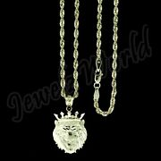 10k Yellow Gold Men's Crown Lion Head Charm Pendant Diamond Cut And Rope Chain