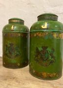2 Antique C19th Tea Caddy Lamp Toleware Royal Warrant Decorative Canister