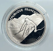 1989 France Alpine Skiing 1992 Olympics Old Proof Silver 100 Francs Coin I89929