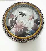 Jingfa Chinese Cloisonne Bowl Floral With Birds Purples And Blue White Background