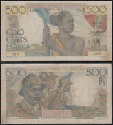 French West Africa 29.12.1950 500 Francs P-41 Vf- Scarce - Us-seller