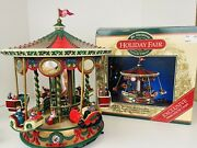 Vintage 1996 Mr Christmas Holiday Fair Carousel With Box Working Flying Sleighs