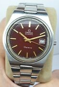 Vintag Rare Omega Geneve Automatic Menandrsquos Red Spider Dial Watch Andomega Steel Big 38mm