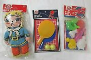Vintage Arkin, A-ok Tub Toys, Softee Pet Plush, And Table Tennis Game, Dime Store