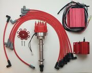 Sbc Chevy 350 Pro-billet Distributor + Digital 6al Box + Coil +red Wires Over Vc