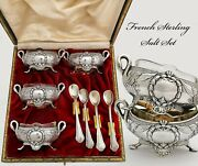 French Sterling And Vermeil Open Salt Cellars And Spoons, Swan Handles- Empire Decor