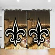New Orleans Saints Thermal Curtain 2 Panels Bedroom Living Room Window Drapes