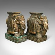 Pair Of Antique Decorative Elephant Side Table Indian Ceramic Victorian