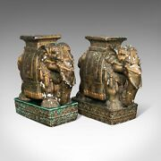 Pair Of, Antique Decorative Elephant Side Table, Indian, Ceramic, Victorian