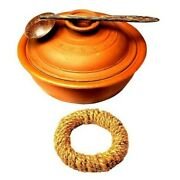 Clay Cooking Pot 2l With Lid Coconut Shell Spoon Andandnbspmultipurpose Stand