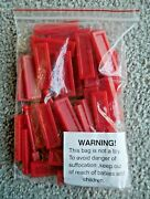 Bag Of 45 Flat Red Plastic Toy Tile / Brick Parts And 3 Posts Evel Knievel J617